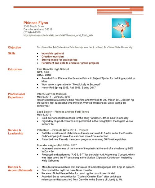 Phineas Flynn Resume - Functional