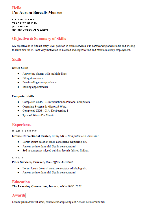 creating a combination resume